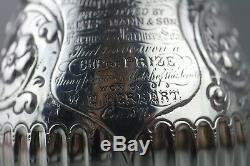 Antiquité Victorienne En Argent Sterling Gaufré 1 Pinte Tankard Poinçonnée 1870 300g