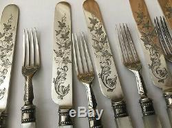 Antiquité Victorienne Hm Argent Massif Mère Pearl Couteaux Fourchettes Ivy Gravées Couverts