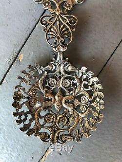 Antiquité Victorienne Tiffany Argent Sterling Cuillère À Louche Esthétique Visage Art Nouveau