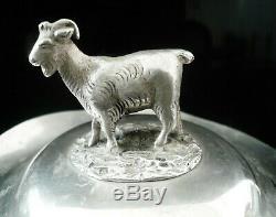 Argent Antique Beurre Couvercle Plat De Chèvre, Birmingham 1851