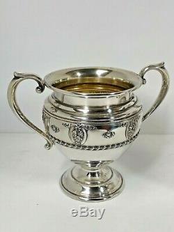 Argent Antique Wallace Sterling Gaufrée Roses Sugar Bowl & Creamer Set # 4640-9