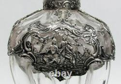 Argent Incroyable & Cristal Antique Allemand Heure Verre Décanter