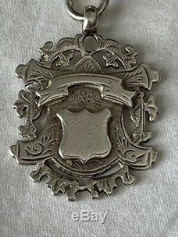 Argent Lourd Victorienne Grand Gourmette Albert Montre De Poche Chaîne & Fob Médaille