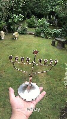 Argent Massif Antique Juif Menorah Candelabra Candlestick Londres 1930 W. S