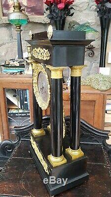 Argent Massif Antique Superbe Cadran Portico Ornement Mantle Pendule-gwo-c1850