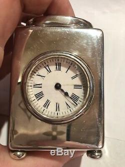 Argent Massif Antique Victorian Carriage Horloge William Comyns