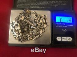 Argent Massif Double Albert Montre De Poche 24 Pouces Chain necklace 600mm 61 Grams