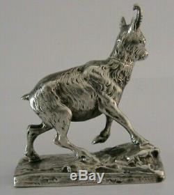 Argent Massif Rare Nouveaute Mountain Goat Tabatière C1890 Antique Des Animaux