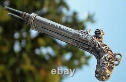 Argent Massif Rare Victorienne Sampson Mordan Flintlock Pistol Porte-mine