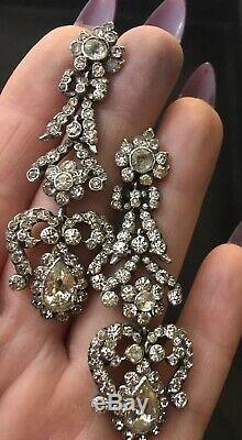 Argent Massif Superbe Victorienne Antique Diamant Pâte Longue Goutte Boucles D'oreilles Arc