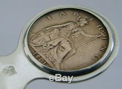 Argent Rare Sterling Reine Victoria Mort Bookmark 1901 Dernière Monnaie Royale Antique