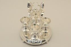 Argent Sterling C1903 S M & Co London Hm Coquetier Spoon Cruet Set Rare Fantastique