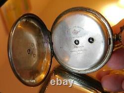 Argent Sterling Jw Benson Victorian Visage Ouvert Key Pocket Montre 48mm