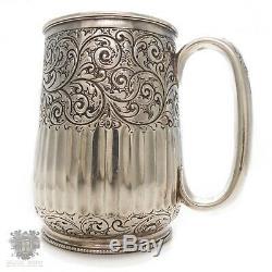 Argent Sterling Victorian Antique Tasse De Tasse De Baptême Sheffield 1888 Tankard