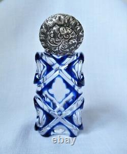 Argent Victorien Antique & Superposition De Verre Parfum Scent Bouteille Bleu