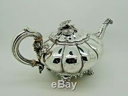 Argent Victorienne Antique Teapot Londres 1837 Joseph & Albert Savory 719g