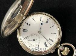 Argent Victorienne Superbe Half Hunter Pocket Watch