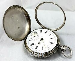 Argent Victorienne Waltham Sterling Cased Complète Hunter Pocket Watch Birm 1884
