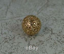 Au Début Victorienne 9ct Florale D'or Boule Sphère Pendentif Ou T0770 Charme