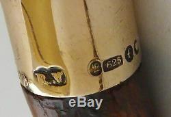 Bâton De Marche Canne 1898 15ct Or Argent Massif Bambou Arbre Swain & Adeney