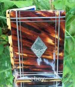 Beautiful Victorian Solid Silver Et Faux Blonde Tortoiseshell Card Cas