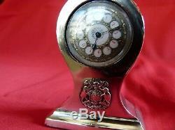 Belle 1886 Argent Massif Et Émail Mesdames Petit Bureau Ou Boudoir Horloge. Étourdissant