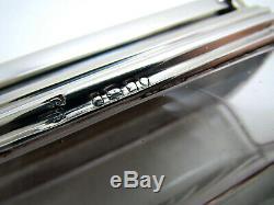 Belle Boîte À Encre Itinérante En Verre Taillé De Style Victorien Antique Argenté Silver
