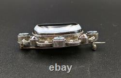 Belle Broche Antique Victorienne En Argent Massif Bagué Agate