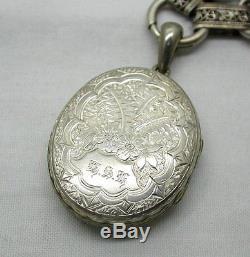 Belle Grande Orné Circa 1870 Médaillon Argenté Et Collarette