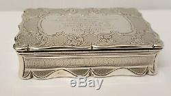 Belle Grande Tabatière De Table Birmingham 1855