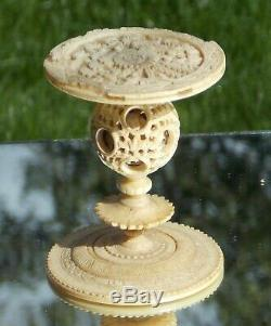 Belle Rare Époque Victorienne Chinois Figural Sculpté Puzzle Boule