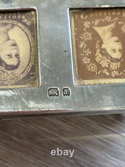 Boîte Antique Victorienne De Double Timbre D'argent Massif Avec Le Couvercle Sprung. Légers Dégâts