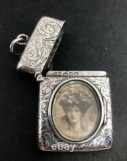 Boîtier Victorien En Argent Vesta Avec Cadre Photo Birmingham 1894