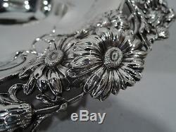 Bol Antique Art Nouveau Victorienne Marguerites Fleurs En Argent Sterling