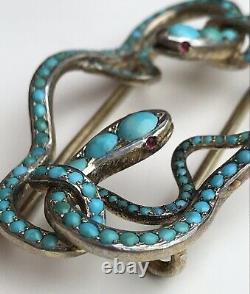 Boucle Antique Victorienne De Serpent Entrelacée De Turquoise