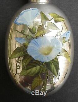 Bouteille Parfum Rare Époque Victorienne Sampson Mordan & Co Silver & Enamel'morning Glory '