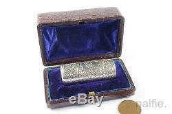 Boxe Antique Anglais Tard Victorien Argent Miniature En Verre Flacon Centré