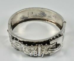 Bracelet À Boucle Articulée Esthétique En Argent Massif Victorien Antique (b'ham, 1884)