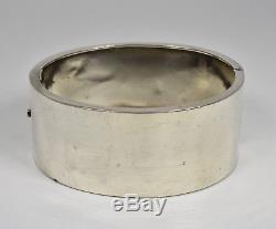 Bracelet À Charnière Esthétique En Argent Massif Victorien Antique, C1890