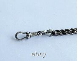Bracelet Antique Victorien En Argent Massif Albertina Bracelet De Charme Fob Moon & Star