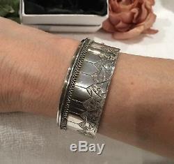 Bracelet Manchet Argent Et Argent Massif Ancienne Victorian / Edwardian Sterling-32.19 Gram