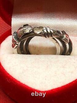 C19ème Victorian Solid Sterling Silver Fede Gimmel Ring Size O, Us=7. 4,6 G
