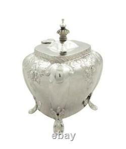 Caddy D'argent Sterling Victorien Antique 1896
