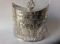 Caddy Hollandais Antique De Thé D'argent