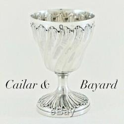 Cailar & Antique Bayard Français En Argent Sterling Coquetier Coquetier Rococo Victorienne