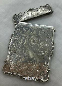 Card Case Antique Victorienne En Argent Sterling, Flip Top, 3 1/4 X 2 1/2