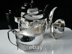 Cased Antique Silver Bachelor Tea Set, Joseph Gloster, Birmingham En 1897