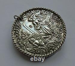 Coussin En Argent Massif Victorien Antique Chatelaine Pin, Londres 1899