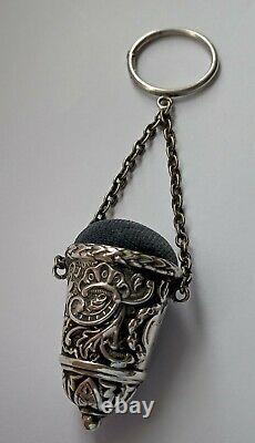 Coussin Victorien Antique En Argent Chatelaine Pin. Birmingham 1900
