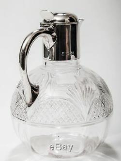Cruche En Verre Taillé De Style Victorien Antique Avec Monture En Argent Massif Poinçonné 1891